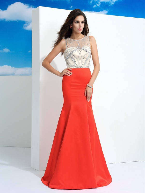 Mermaid Sheer Neck Long Satin Dress