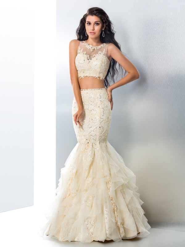 Mermaid Sheer Neck Long Tulle Two Piece Dress