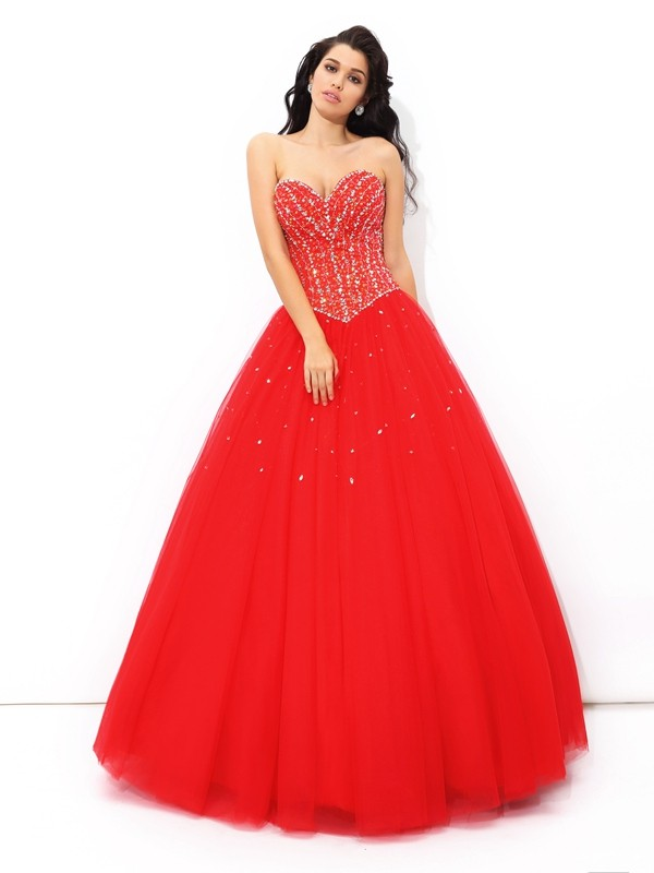 Ball Gown Sweetheart Long Net Quinceanera Dress