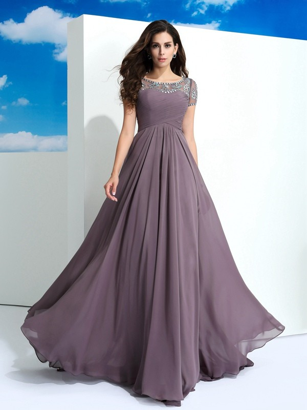 A-Line/Princess Sheer Neck Short Sleeves Long Chiffon Dress