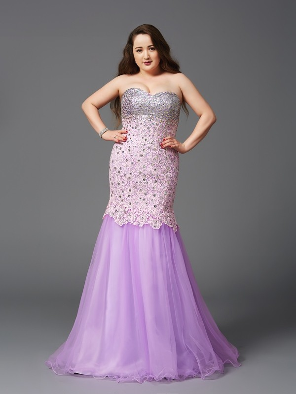 Mermaid Sweetheart Long Net Plus Size Dress