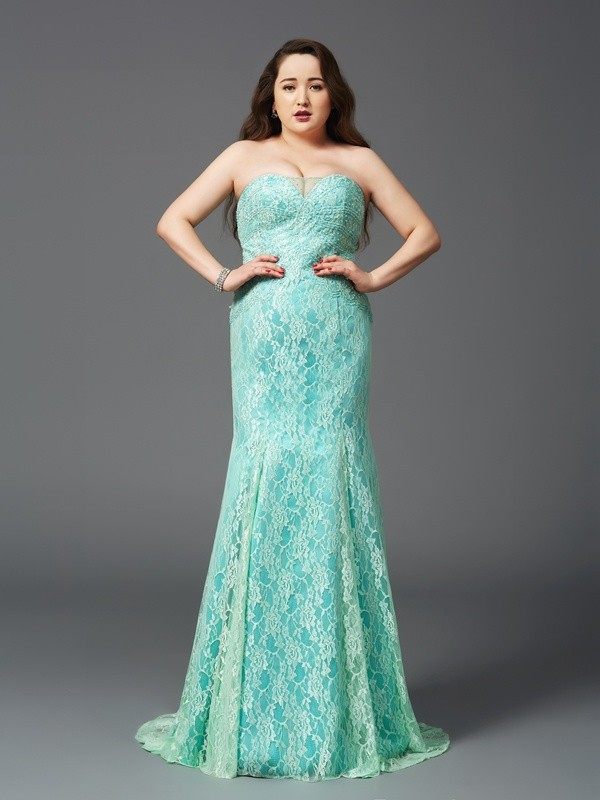 Sheath/Column Strapless Lace Long Satin Plus Size Dress