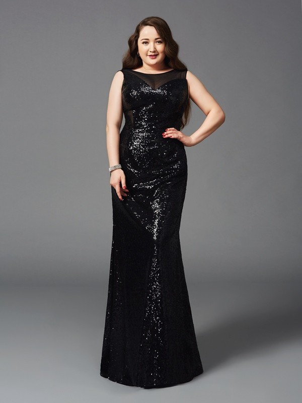 Sheath/Column Scoop Long Sequins Plus Size Dress