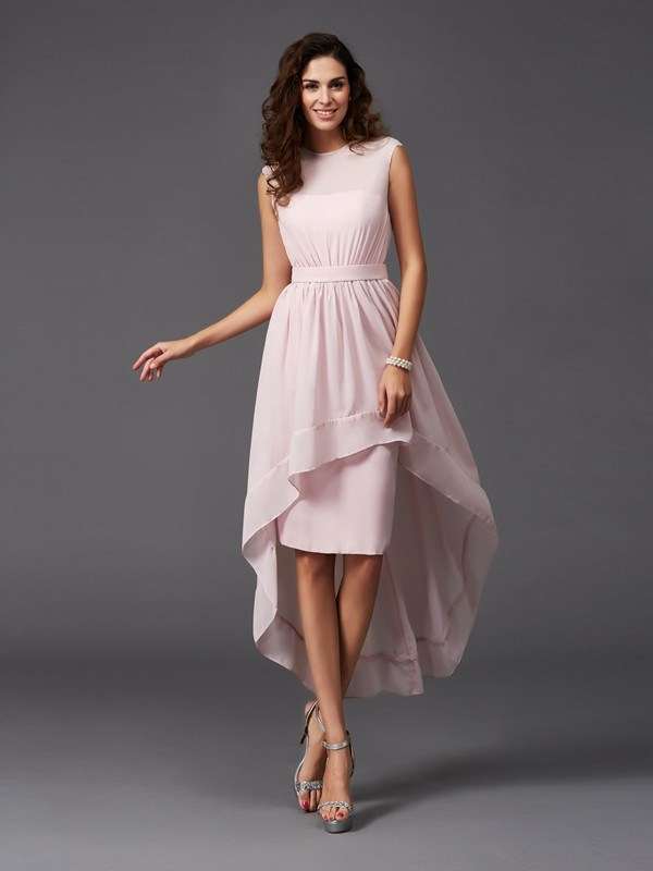 A-Line/Princess Scoop Asymmetrical Chiffon Bridesmaid Dress