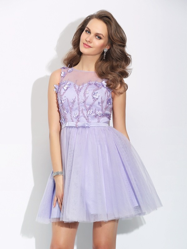 A-Line/Princess Bateau Short Satin Dress