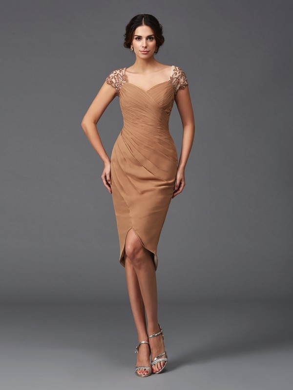 Sheath/Column Sweetheart Short Sleeves Asymmetrical Chiffon Cocktail Dress