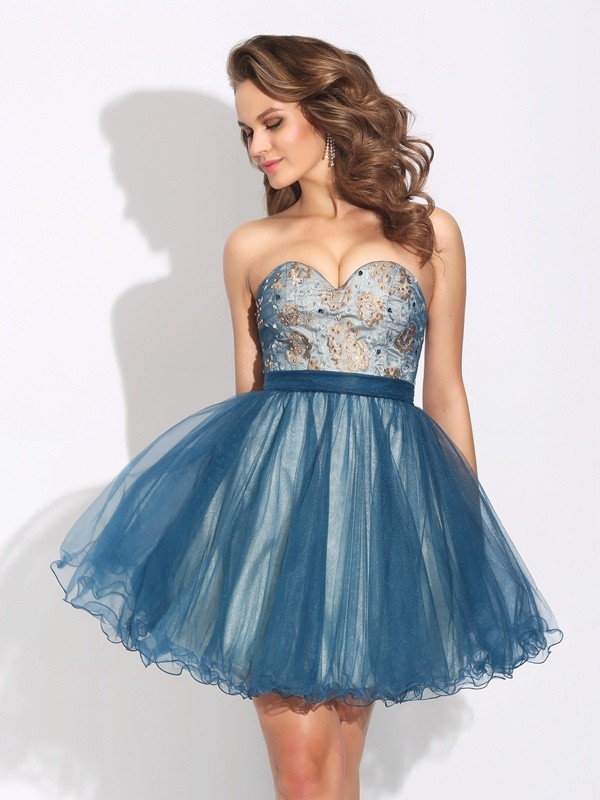 A-Line/Princess Sweetheart Short Net Dress