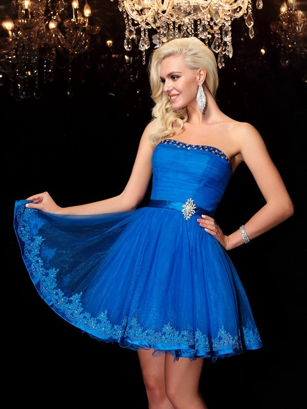 A-Line/Princess Strapless Short Net Dress