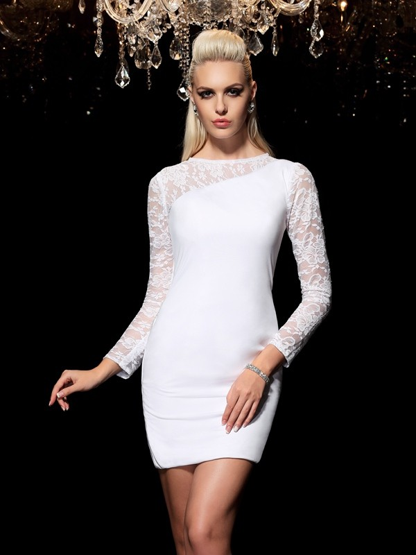 Sheath/Column Scoop Lace Long Sleeves Short Elastic Woven Satin Cocktail Dress