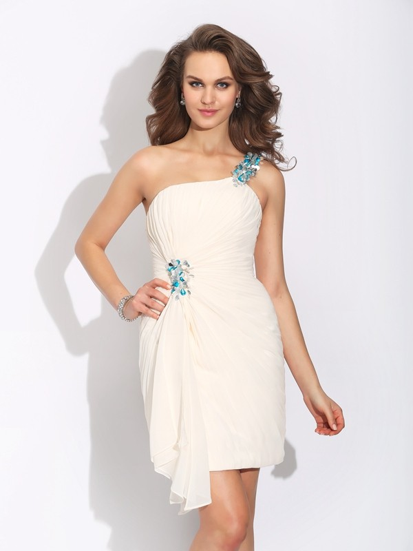 Sheath/Column One-Shoulder Short Chiffon Dress