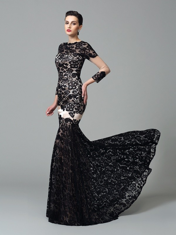 Sheath/Column High Neck Lace 3/4 Sleeves Long Elastic Woven Satin Dress