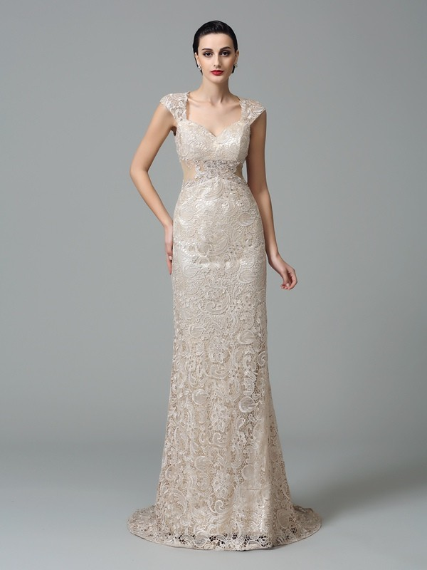 Sheath/Column Straps Long Lace Dress