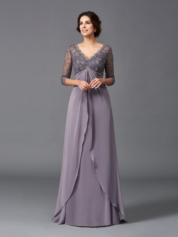 A-Line/Princess V-neck Lace 3/4 Sleeves Long Chiffon Mother of the Bride Dress