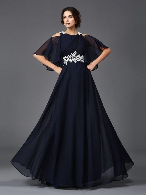 A-Line/Princess Straps 1/2 Sleeves Long Chiffon Mother of the Bride Dress