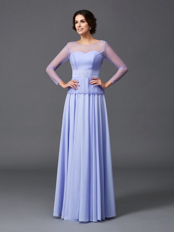 A-Line/Princess Scoop Long Sleeves Long Chiffon Mother of the Bride Dress
