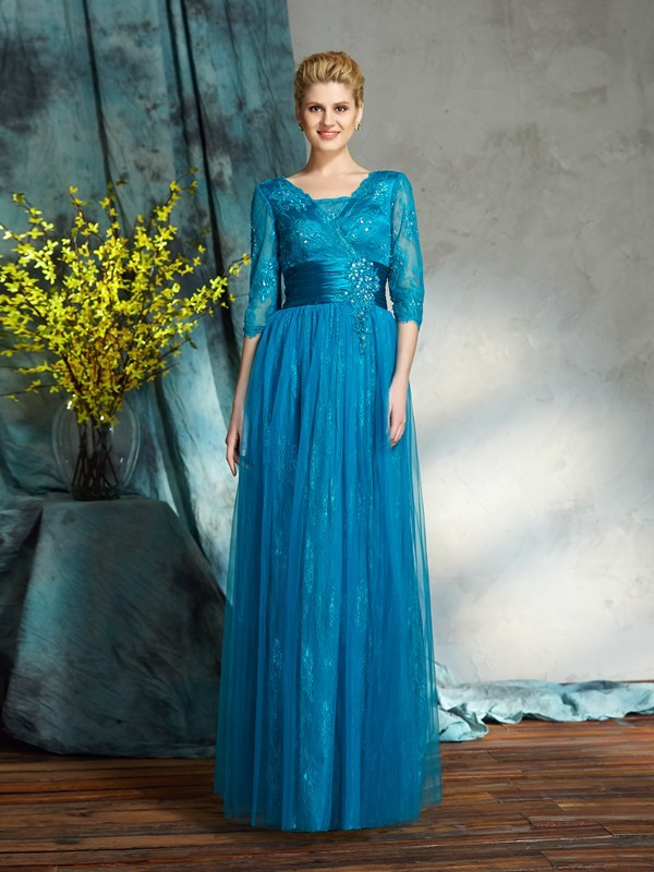 A-Line/Princess V-neck 3/4 Sleeves Long Net Mother of the Bride Dress