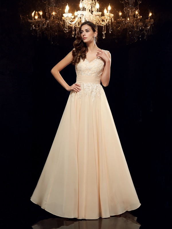 A-Line/Princess Straps Long Chiffon Mother of the Bride Dress