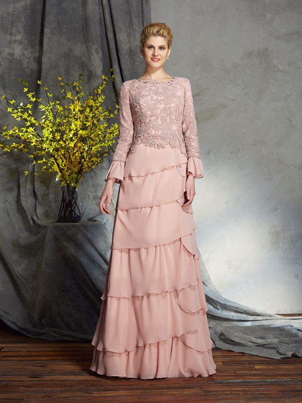 Sheath/Column Scoop Long Sleeves Long Chiffon Mother of the Bride Dress