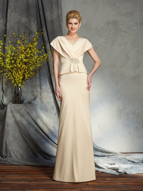 Sheath/Column V-neck Short Sleeves Long Silk like Satin Mother of the Bride Dress