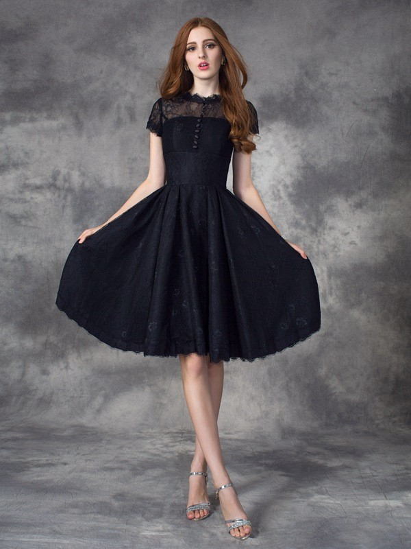 A-Line/Princess Jewel Lace Short Sleeves Short Lace Dress