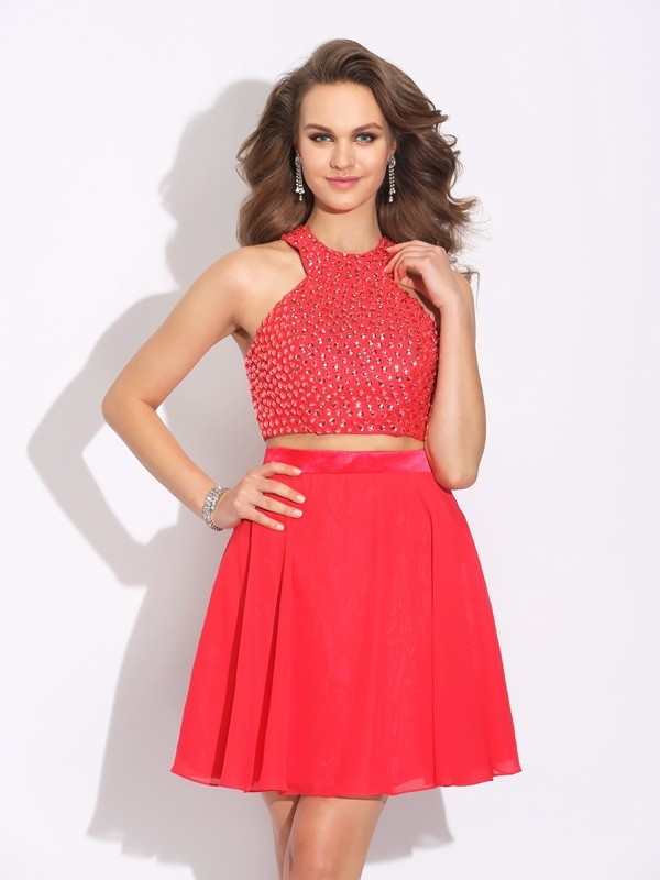 A-Line/Princess Jewel Short Chiffon Two Piece Dress