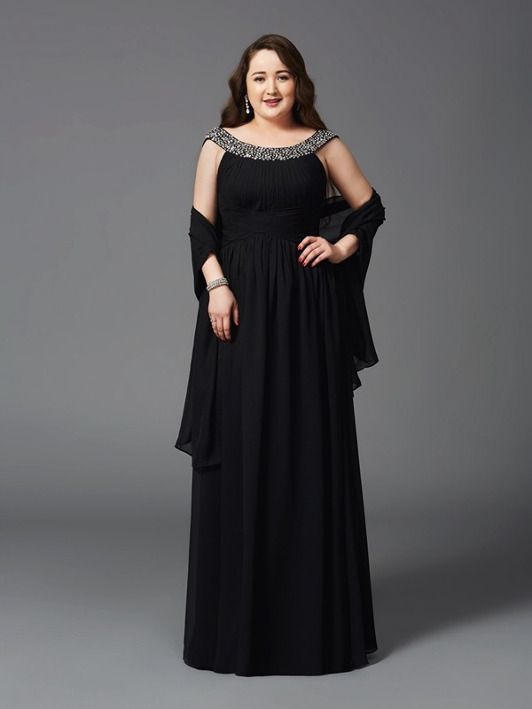 A-Line/Princess Scoop Long Chiffon Plus Size Dress