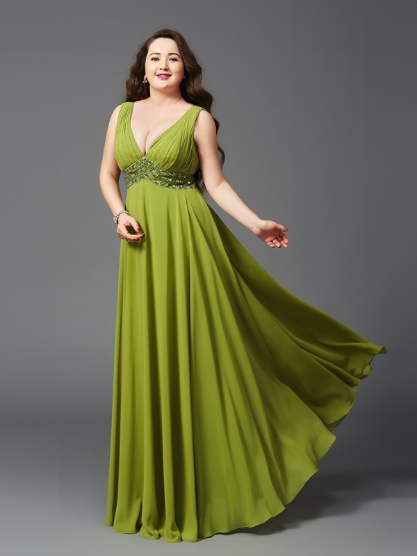 A-Line/Princess Straps Long Chiffon Plus Size Dress