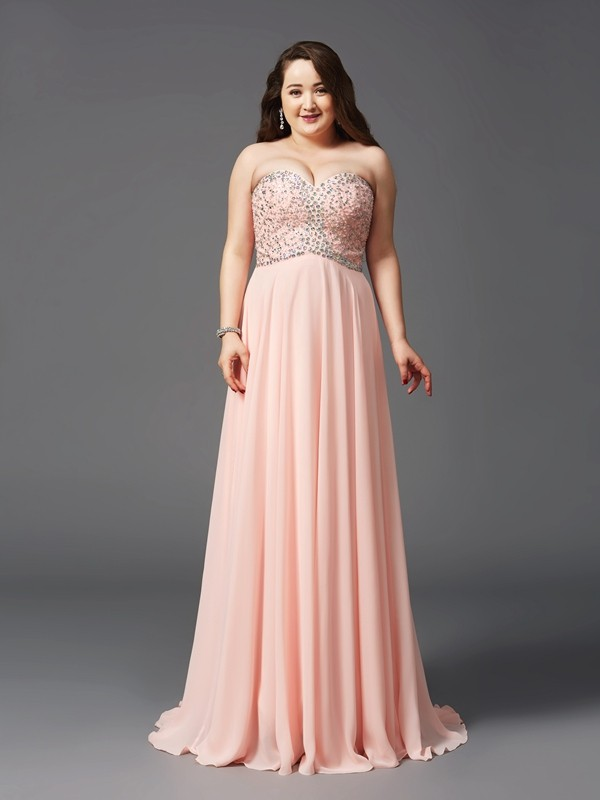 A-Line/Princess Sweetheart Long Chiffon Plus Size Dress