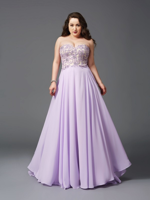 A-Line/Princess Sweetheart Lace Long Chiffon Plus Size Dress