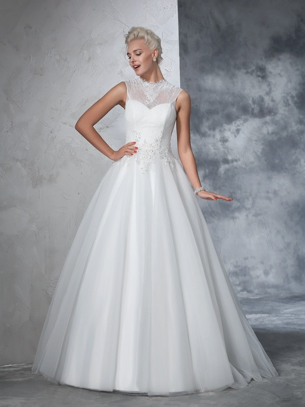 Ball Gown High Neck Long Net Wedding Dress