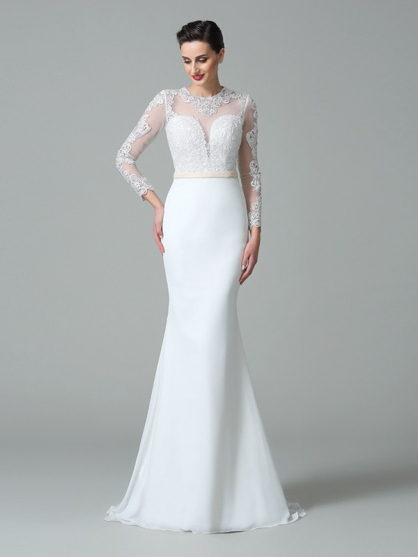 Mermaid Jewel Lace Long Sleeves Long Satin Wedding Dress