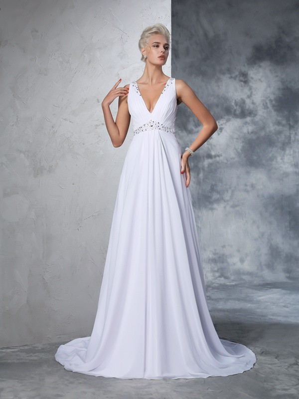 A-Line/Princess V-neck Long Chiffon Wedding Dress