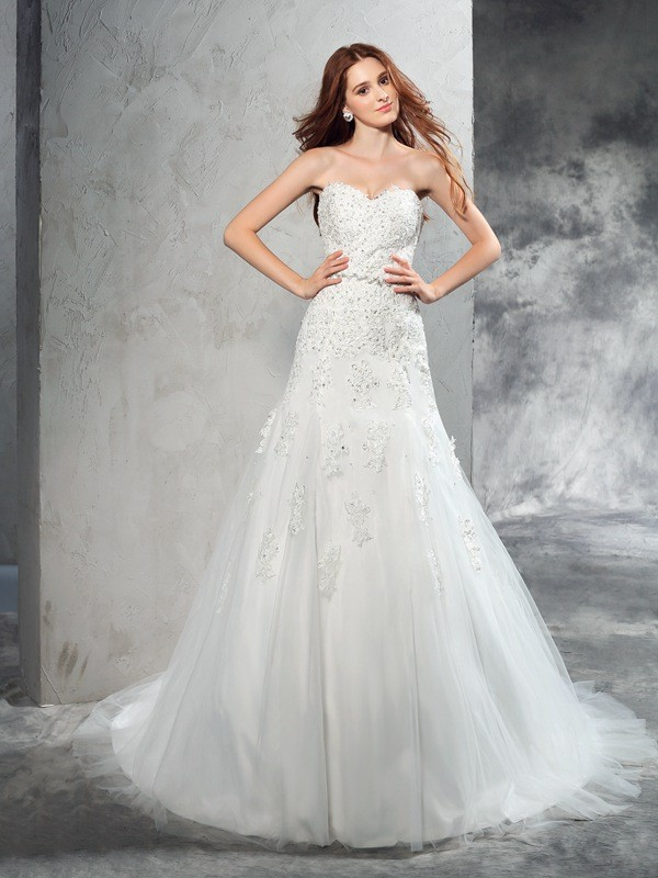 Sheath/Column Sweetheart Long Satin Wedding Dress