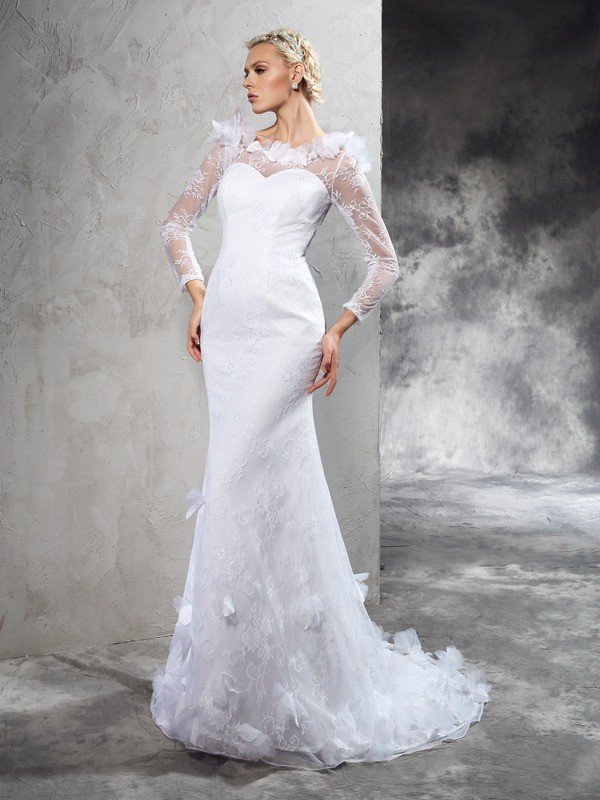 Sheath/Column Sheer Neck Long Sleeves Long Satin Wedding Dress