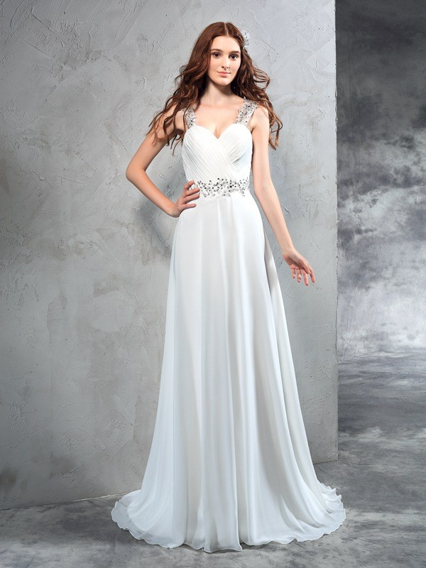 A-Line/Princess Sweetheart Long Chiffon Wedding Dress