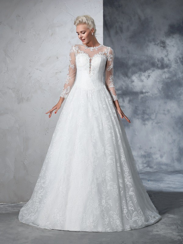 Ball Gown Jewel Lace Long Sleeves Long Lace Wedding Dress