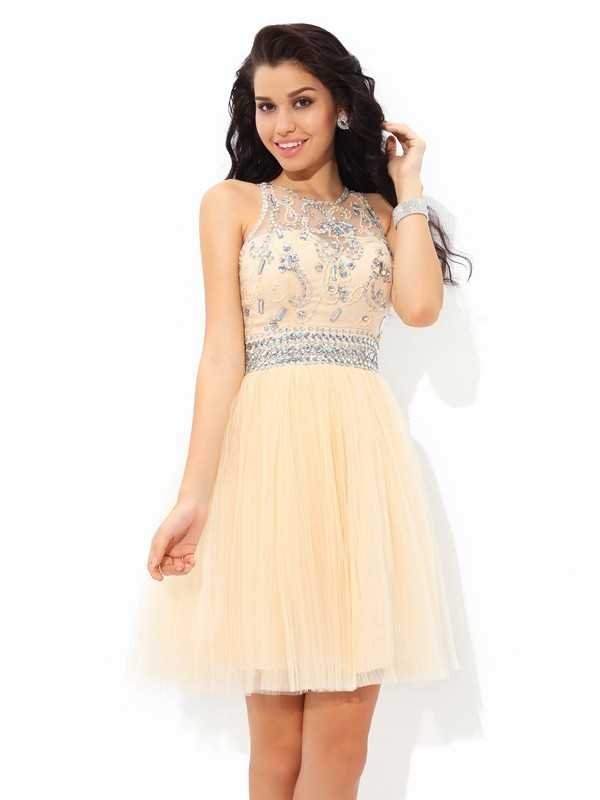 A-Line/Princess Sheer Neck Short Net Cocktail Dress