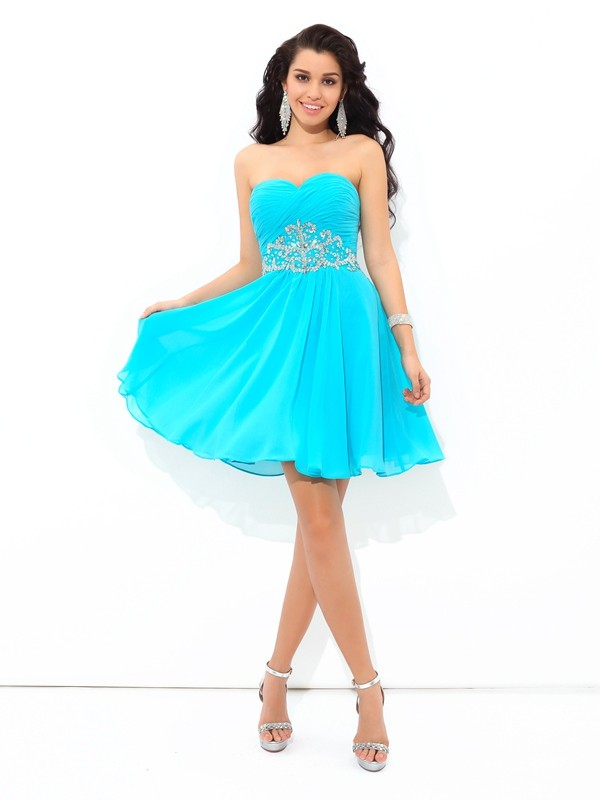 A-Line/Princess Sweetheart Short Chiffon Cocktail Dress