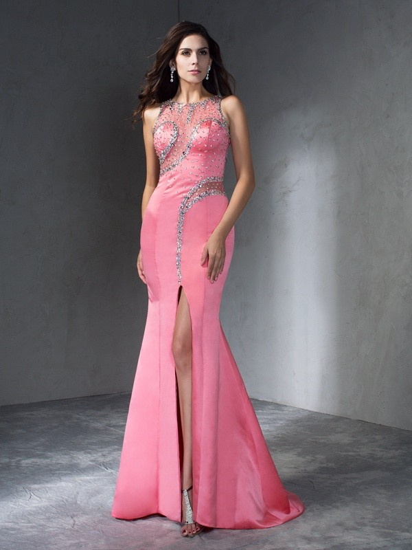 Mermaid Scoop Long Satin Dress