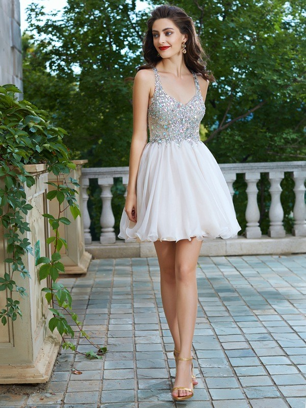 A-Line/Princess Straps Short Chiffon Dress