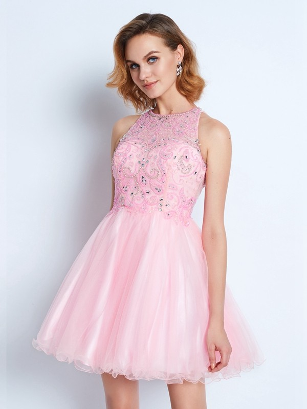 A-Line/Princess Jewel Short Net Dress