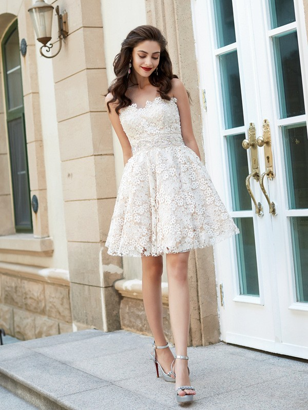 A-Line/Princess Sweetheart Short Lace Dress