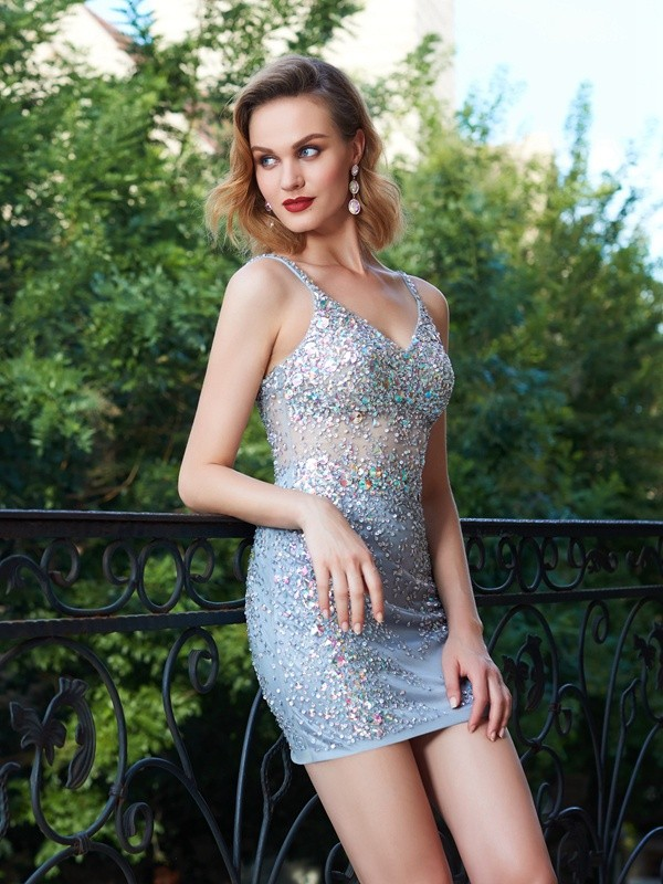 Sheath/Column Spaghetti Straps Net Sequins Short Dress