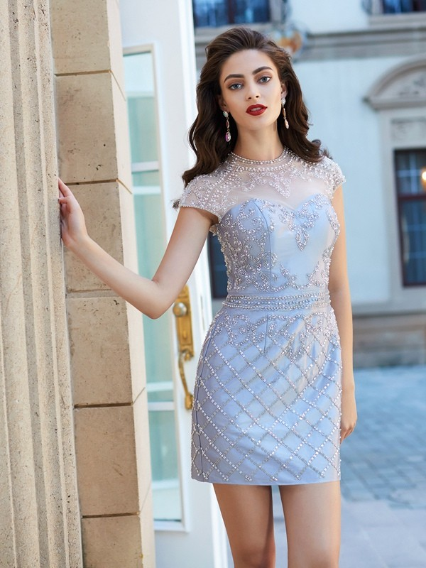 Sheath/Column Jewel Short Sleeves Satin Short Dress