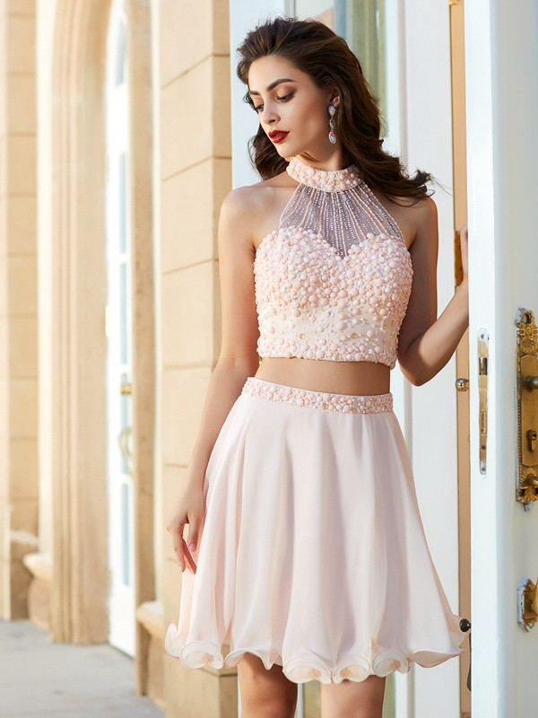 A-Line/Princess Halter Chiffon Short Two Piece Dress