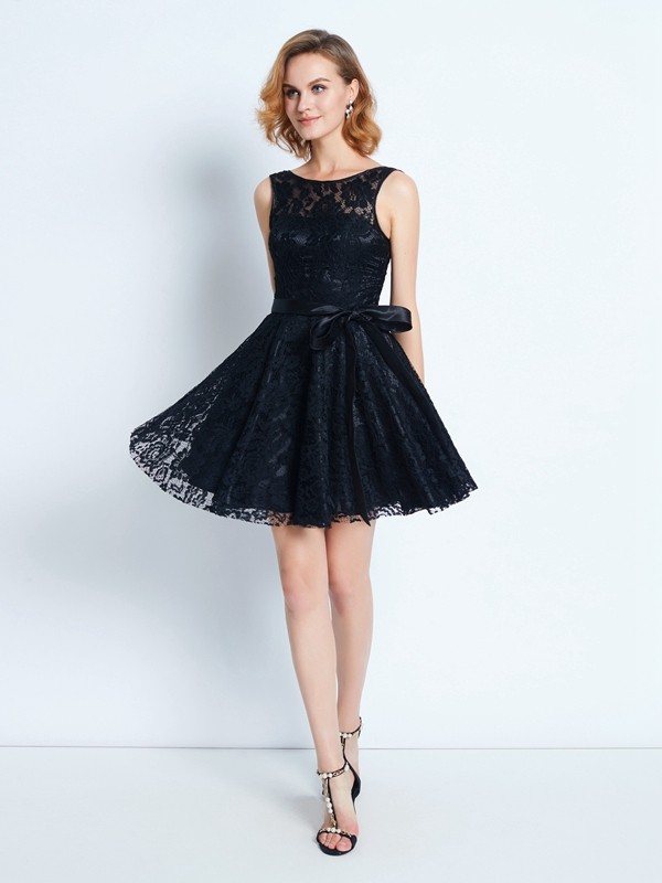 A-Line/Princess Scoop Lace Short Dress