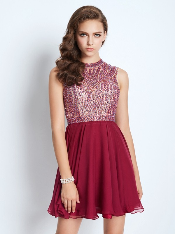A-Line/Princess Jewel Chiffon Short Dress
