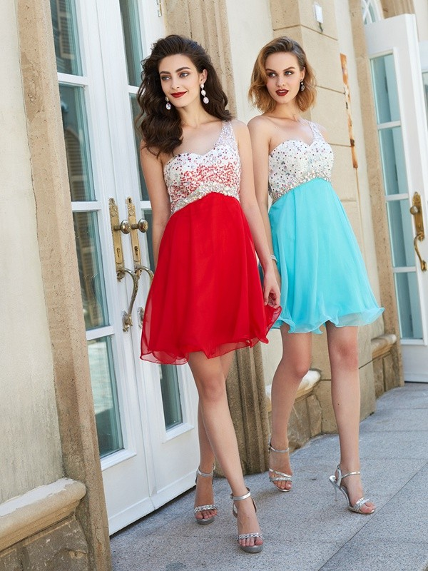 A-Line/Princess Chiffon One-Shoulder Short Dress