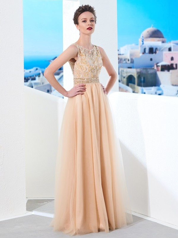 A-Line/Princess Scoop Long Tulle Dress