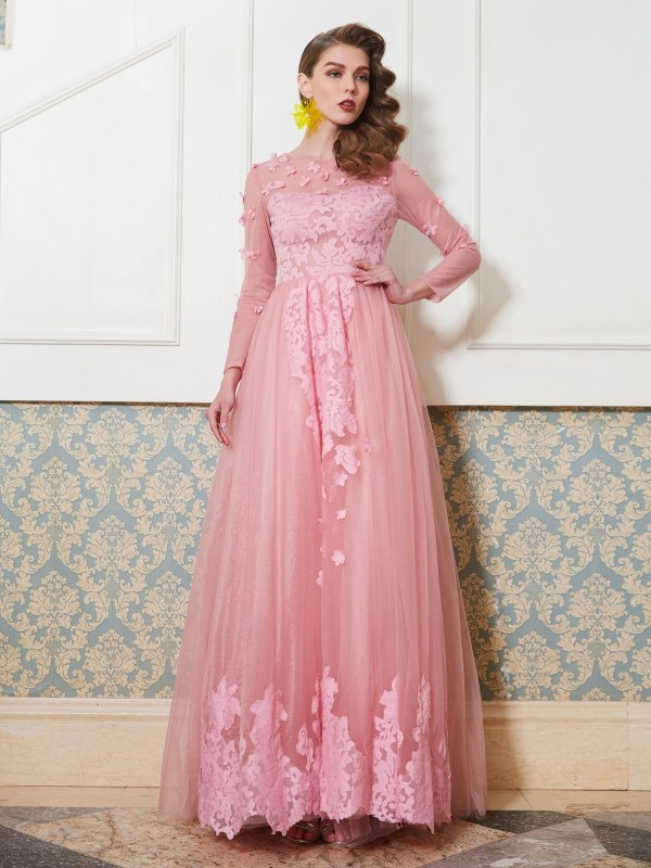 A-Line/Princess Scoop 3/4 Sleeves Long Tulle Dress